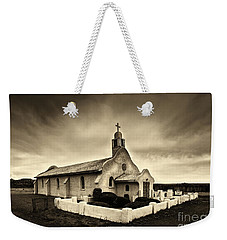 Historic Old Adobe Spanish Style Catholic Church San Ysidro New Mexico Weekender Tote Bag by Jerry Cowart