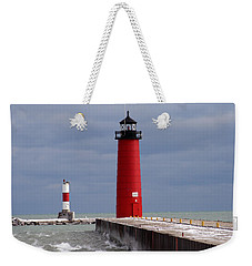 Weekender Tote Bag featuring the photograph Historic Pierhead Lighthouse by Kay Novy
