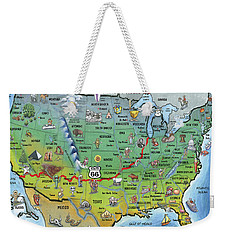 Historic Route 66 Cartoon Map Weekender Tote Bag