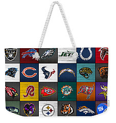 Hit The Gridiron Football League Retro Team Logos Recycled Vintage License Plate Art Weekender Tote Bag by Design Turnpike