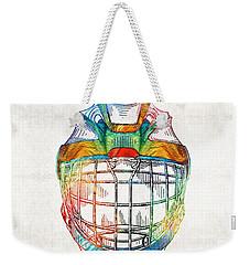 Hockey Art - Goalie Mask Patent - Sharon Cummings Weekender Tote Bag by Sharon Cummings