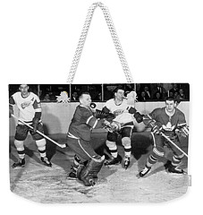 Hockey Goalie Chin Stops Puck Weekender Tote Bag