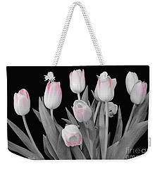Weekender Tote Bag featuring the photograph Holland Tulips In Black And White With Pink by Jeannie Rhode