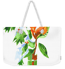 Weekender Tote Bag featuring the painting Holly With Red Roses In A Vase by Kip DeVore