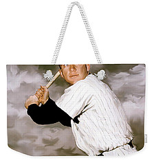 American Fabric   Mickey Mantle Weekender Tote Bag by Iconic Images Art Gallery David Pucciarelli