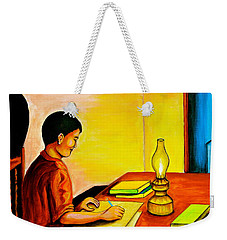 Weekender Tote Bag featuring the painting Homework by Cyril Maza