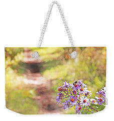 Weekender Tote Bag featuring the photograph Honey Bee On Purple Aster by Brooke T Ryan