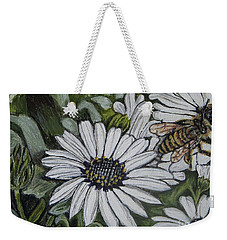 Honeybee Taking The Time To Stop And Enjoy The Daisies Weekender Tote Bag by Kimberlee Baxter
