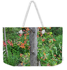 Weekender Tote Bag featuring the photograph Honeysuckle's Friend by Brenda Brown