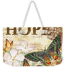 Hope And Butterflies Weekender Tote Bag by Jean Plout