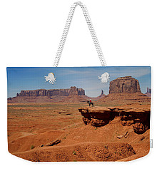 Horse And Rider In Monument Valley Weekender Tote Bag