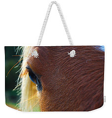 Weekender Tote Bag featuring the photograph Horse Close Up by Jocelyn Friis