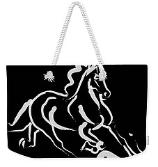 Horse - Fast Runner- Black And White Weekender Tote Bag