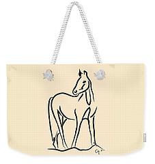 Weekender Tote Bag featuring the painting Horse - Grace by Go Van Kampen