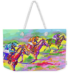 Horse Race  Three Weekender Tote Bag by Mary Armstrong