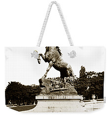 Weekender Tote Bag featuring the photograph Horse Sculpture Trocadero  Paris France 1900 Historical Photos by California Views Mr Pat Hathaway Archives