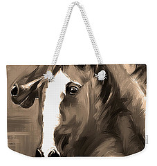 Weekender Tote Bag featuring the painting Horse Together 1 Sepia by Go Van Kampen