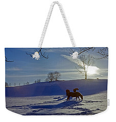 Horses In Snow Weekender Tote Bag