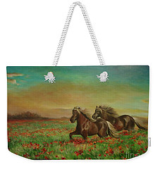 Horses In The Field With Poppies Weekender Tote Bag
