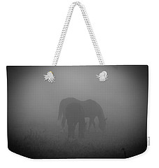 Horses In The Mist. Weekender Tote Bag by Cheryl Baxter