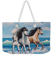 Horses On A Beach Weekender Tote Bag