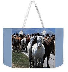 Horses On Road Weekender Tote Bag