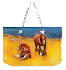 Weekender Tote Bag featuring the painting Horses On The Coast Of Brittany by Menega Sabidussi