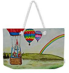 Hot Air Balloon Rainbow Weekender Tote Bag
