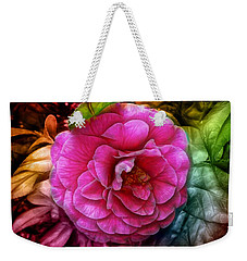 Hot And Silky Pink Rose Weekender Tote Bag by Lilia D