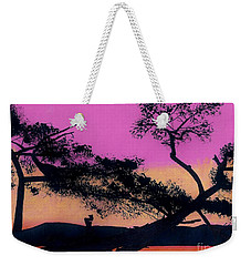 Weekender Tote Bag featuring the drawing Hot Pink Sunset by D Hackett