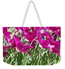 Weekender Tote Bag featuring the photograph Hot Pink Tulips 2 by Allen Beatty