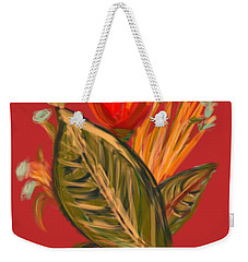 Weekender Tote Bag featuring the digital art Hot Tulip L by Christine Fournier