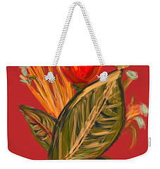 Weekender Tote Bag featuring the digital art Hot Tulip R by Christine Fournier
