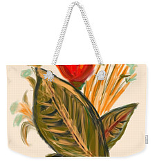 Weekender Tote Bag featuring the digital art Hot Tulip Spring by Christine Fournier