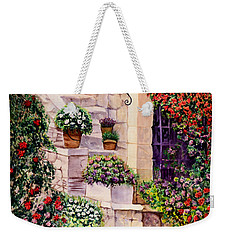 Weekender Tote Bag featuring the painting House In Oyster Bay by Sher Nasser