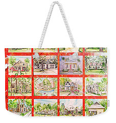 Weekender Tote Bag featuring the mixed media House Rendering Card by Lizi Beard-Ward