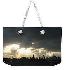 Houston Refinery At Dusk Weekender Tote Bag by Connie Fox