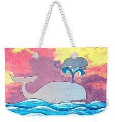 How Whales Have Fun Weekender Tote Bag by Shawna Rowe
