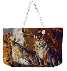 Weekender Tote Bag featuring the painting Howling For The Nightlife  by Thomas J Herring