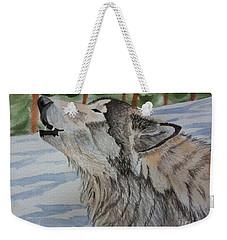 Howling Wolf In Winter Weekender Tote Bag by Brenda Brown