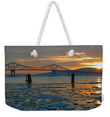Hudson River Icey Sunset Weekender Tote Bag by Jeffrey Friedkin