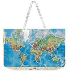 Huge Hi Res Mercator Projection Physical And Political Relief World Map Weekender Tote Bag
