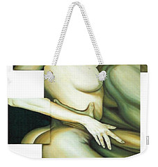 Weekender Tote Bag featuring the painting Hug_sold by Fei A