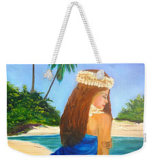 Weekender Tote Bag featuring the painting Hula Girl On The Beach by Jenny Lee