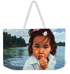 Weekender Tote Bag featuring the painting Human-nature 48 by James W Johnson