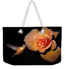 Hummingbird And Orange Rose Weekender Tote Bag