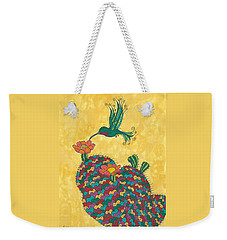 Weekender Tote Bag featuring the painting Hummingbird And Prickly Pear by Susie Weber