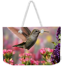 Hummingbird In Colorful Garden Weekender Tote Bag by William Lee