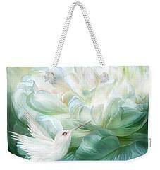 Weekender Tote Bag featuring the mixed media Hummingbird Kiss by Carol Cavalaris