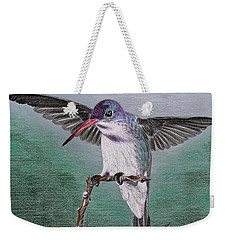 Weekender Tote Bag featuring the drawing Hummingbird by Kume Bryant